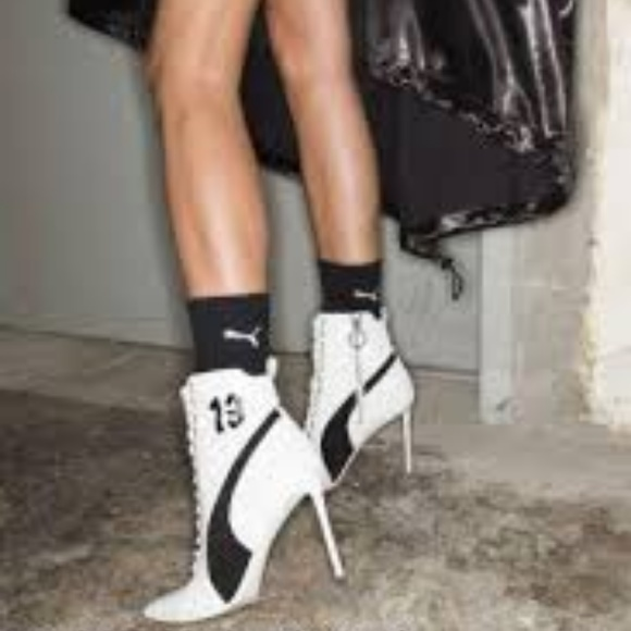 PUMA FENTY BY RIHANNA WHITE HIGH HEEL ANKLE BOOT 6